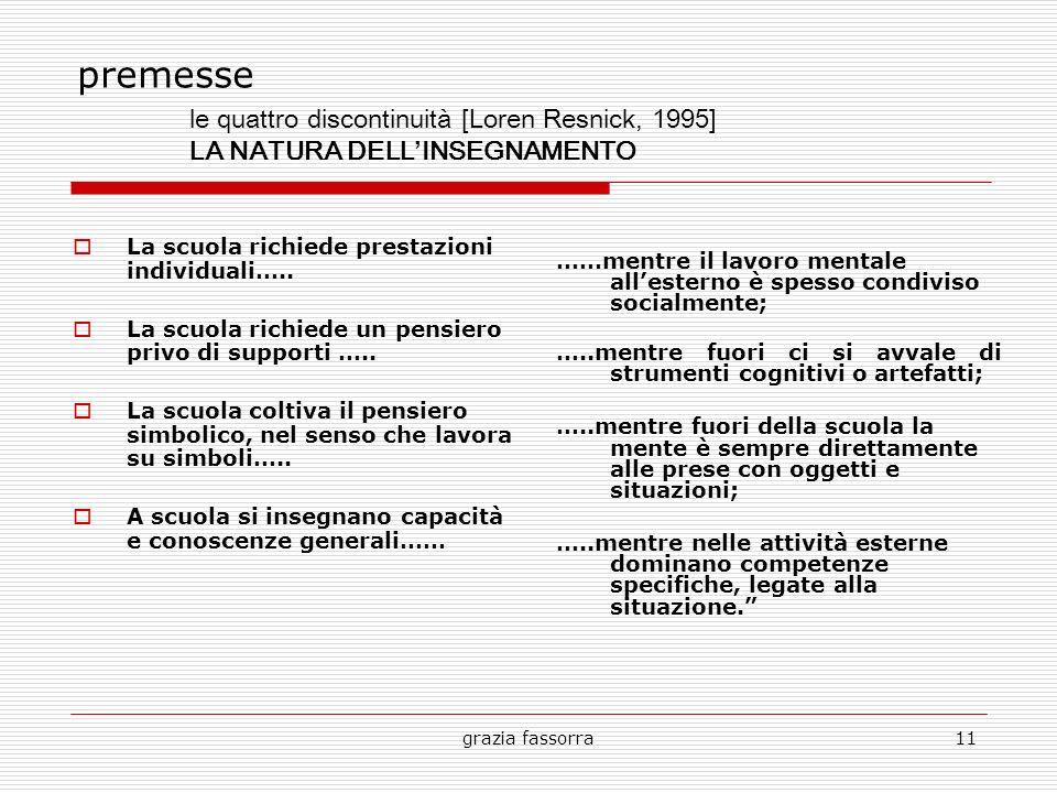 premesse le quattro discontinuità [Loren Resnick, 1995] LA NATURA DELL'INSEGNAMENTO. La scuola richiede prestazioni individuali…..